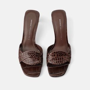 NWT Zara Brown Croc Leather Heeled Mules — Sandals